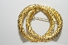 "+MBA #99-578  ""Vintage Goldtone Large Double Ring Brooch"""