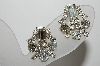 "MBA #99-642  ""Vintage Silvertone Fancy Clear Crystal Rhinestone Clip On Earrings"""