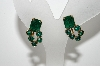 "MBA #99-086  ""Vintage Goldtone Green Rhinestone Screw Back Earrings"""