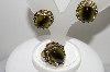"MBA #99-660  ""Whiting & Davis Goldtone Green Glass Clip On Earrings & Ring"""