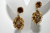 "MBA #99-223  ""Vintage Goldtone Multi Colored Crystal Rhinestone Clip On Earrings"""