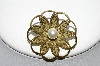 "+MBA #99-679  ""Vintage Brass Faux Glass Pearl Pin"""