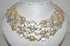 "**MBA #99-567  """"Vintage Goldtone Faux Pearl & Clear Acrylic Bead 4 Row Necklace"""