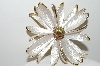 "MBA #99-610  ""Park Lane Goldtone White Enameled Large Flower Brooch"""