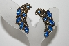 "MBA #99-556  ""Vintage Antiqued Goldtone Blue Rhinestone Clip On Earrings"""