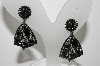 "MBA #99-351  ""Vintage Black Rhinestone Black Enameled Clip On Earrings"""