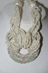 "MBA #99-566  ""Vintage Stunning Mother Of Pearl Inlay & Bead Necklace"""
