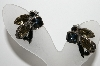 "MBA #99-664  ""Vintage Antiqued Silvertone Black & Smokey Colored Rhinestone Clip On Earrings"""