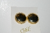 "MBA #99-512  ""Cathe Goldtone Large Button Style Clip On Earrings"""