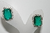 "MBA #99-547 "" Vintage Silvertone Green Emerald Cut Pierced Earrings"""
