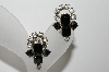 "MBA #99-118  ""Vintage Silvertone Black Glass & Clear Rhinestone Clip On Earrings"""