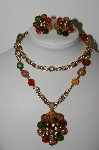 "MBA #99-037  ""Vintage Made In West Germany Multi Colored Acrylic Beads & Rhinestone Necklace & Earring Set"""