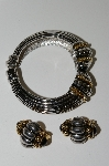 "MBA #99-142  ""Vintage Two Tone Bangle Bracelet & Matching Clip On Earrings"""