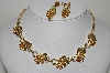 "MBA #99-538  ""Star Goldtone Citrine Colored Crystal Rhinestone Necklace & Earring Set"""