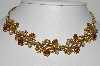"MBA #99-265  ""Vintage Goldtone Citrine Colored Rhinestone & Faux Pearl Choker"""
