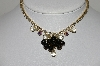 "MBA #99-121  ""Lov Rel  Goldtone Rhinestone & Black Glass bead Necklace"""