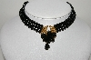 "MBA #99-O73  ""Vintage Fancy Black Bead Choker"""