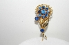 "+MBA #99-059  ""Vintage Gold Plated Fancy Blue Rhinestone Flower Pin"""