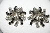 "MBA #99-051  ""Vintage Silvertone Clear & Black Crystal Rhinestone Pierced Earrings"""