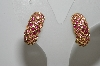 "MBA #99-008  ""Florenza Goldtone Dark & Light Pink Crystal Rhinestone Clip On Earrings"""