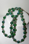 "MBA #99-284  ""Vintage Green & Grey AB Glass Bead Necklace"""