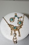 "MBA #99-045  ""Vintage Gold Plated Blue & Clear Crystal Rhinestone Pin/Pendant & Earring Set"""