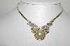 "MBA #99-048  ""Vintage Gold Plated Clear Crystal & Faux Glass AB Pearl Necklace"""
