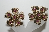 "MBA #99-092   ""Vintage Gold Plated Purple Crystal Rhinestone Fancy Flower Clip On Earrings"""