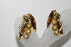 "MBA #99-070    ""Vintage Gold Tone Very Fancy Crystal Rhinestone & Faux Pearl Clip On Earrings"""