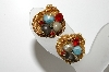 "MBA #99-356  ""Vintage Goldtone Mesh Style Bead & Red Rhinestone Clip On Earrings"""