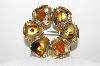 "+MBA #99-390  ""Vintage Gold Plated Polished Stone Pin"""