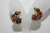 "MBA #99-069  ""Lisner Goldtone Glass & Rhinestone Clip On Earrings"""