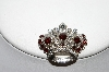 "+MBA #99-323  ""Vintage Silvertone Clear & Red Crystal Rhinestone Crown Pin"""