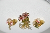 "MBA #99-228  ""Vintage Goldtone Faux Pearl Enameled Flower Pin & Matching Earring Set"""