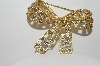 "+MBA #99-497  ""Vintage Goldtone Clear Rhinestone Large Bow Pin"""