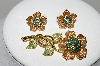 "MBA #99-029   ""Vintage Goldtone Tri Colored Rhinestone Flower Pin & Matching Pierced Earrings"""