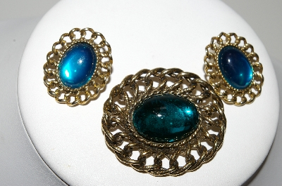 "+MBA #99-088  ""Vintage Antiqued Goldtone Blue Glass Pin & Earring Set"""
