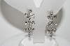 "**MBA #99-195  ""B.David Silvertone Clear Crystal Clip On Earrings"""