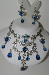 "**MBA #99-488  ""Vintage Large & Very Fancy Blue & Clear Crystal Necklace & Matching Pierced Earrings"