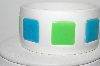 "MBA #98-047  ""Vintage White, Blue & Green Plastic Bangle Bracelet"""