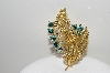 "MBA #99-057  ""Lisner Goldtone Peacock Colored Crystal Leaf Pin"""
