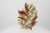 "+MBA #99-015  ""Vintage Gold Plated Faux Glass Pearl & Red Rhinestone Fancy Pin"""