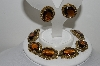 "MBA #99-063  ""Vintage Goldtone Brown Glass Stone Bracelet & Matching Earring Set"""
