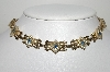 "MBA #99-094  ""Vintage Goldtone Fancy Blue & Clear Crystal Rhinestone Necklace"""