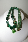 "MBA #99-084  ""Vintage Green Art Glass Bead Necklace"""