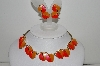 "MBA #99-052  ""Vintage Goldtone Two Shades Of Orange Thermoplastic Necklace & Earrings Set"""