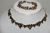 "MBA #99-168  ""Vintage Gold Filled Purple Crystal Rhinestone Floral  Necklace & Bracelet Set"""