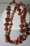 "MBA #99-078  ""Vintage Glass & Red Acrylic & Metal Bead Necklace"""