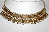 "MBA #99-096  ""Vintage Goldtone Mesh Style Crystal Choker & Matching Earrings Set"""