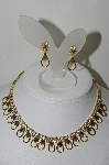 "MBA #99-340  ""Sarah Coventry Goldtone Fancy Clear Crystal Rhinestone Necklace & Matching Earrings Set"""